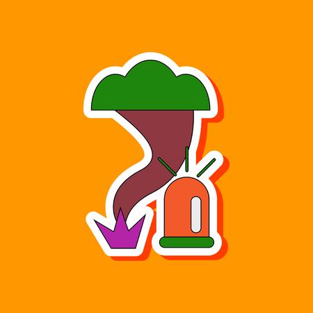 paper sticker on stylish background of tornado alarm lamp