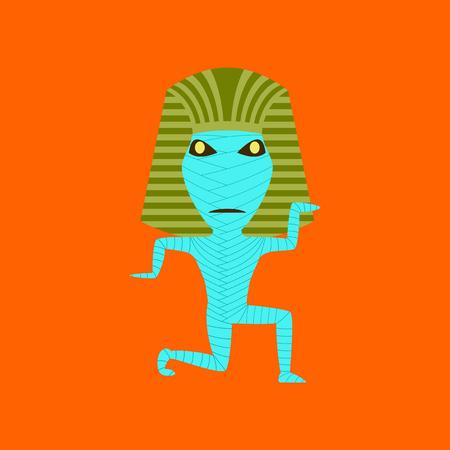 flat illustration on background of mummy halloween monster Illustration