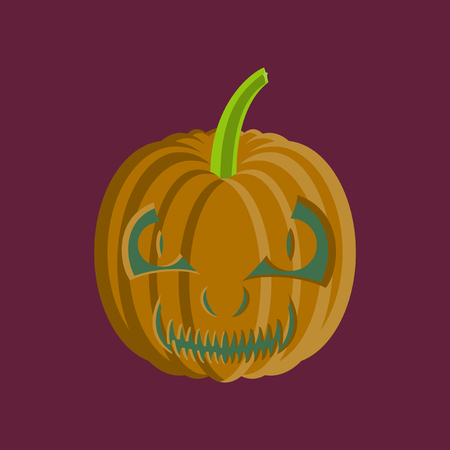 of helloween: flat illustration on background of Halloween pumpkin emotions