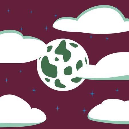 flat illustration on background of full moon sky Illustration