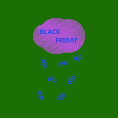 flat shading style icon black Friday discounts cloud Stock Photo