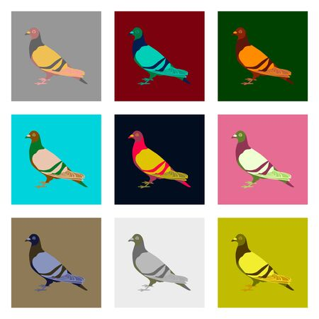 Set of vector illustration in flat style dove Фото со стока - 89342829