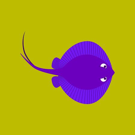 Vector illustration in flat style ramp fish