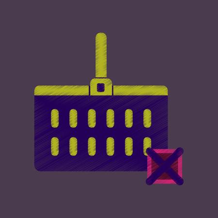 flat shading style icon supermarket basket