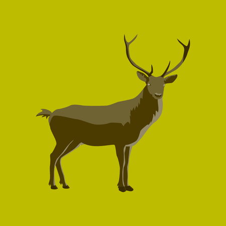 Vector illustration in flat style deer