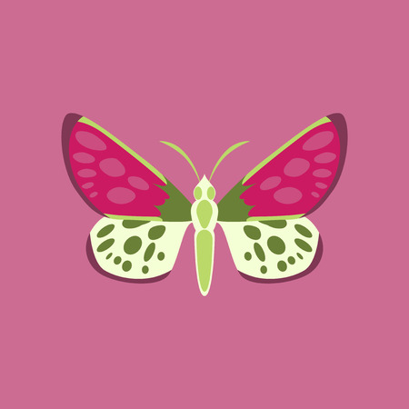 Colorful icon of butterfly isolated on pink Illustration