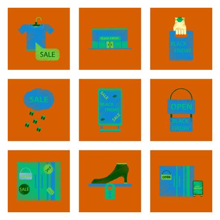 assembly of flat shading style icon Black Friday set Illustration