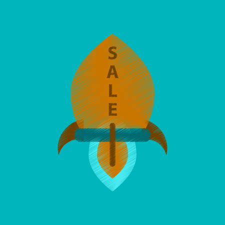 sell: flat shading style icon sale rocket