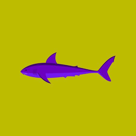 Vector illustration in flat style White shark