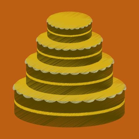 Flat shading style icon wedding cake, vector illustration. Illustration