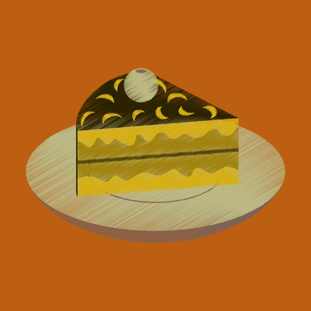 Flat shading style icon berry pie on a plate.