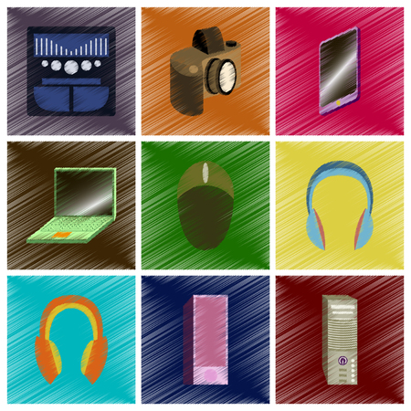 Assembly flat shading style icons gadgets. Illustration