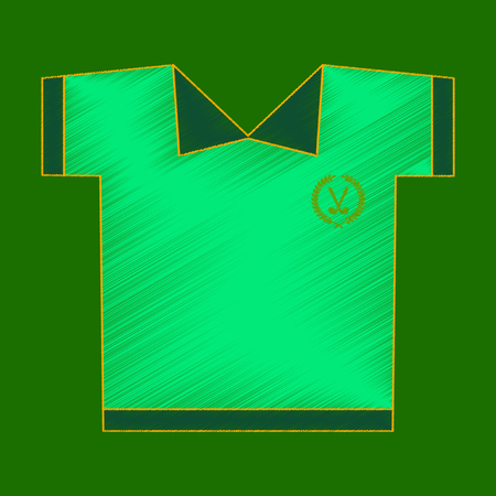 Flat shading style icon golf shirt on green background.