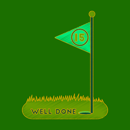 Flat shading style icon golf course well done. Illustration