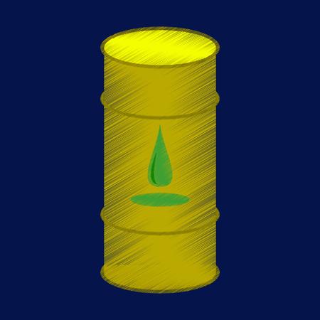 Vlakke arcering stijl pictogram vat olie vectorillustratie