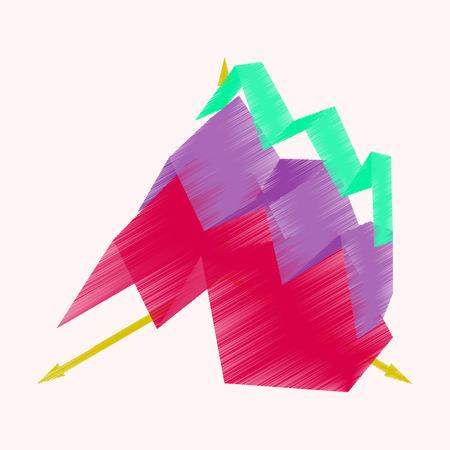 Flat shading style icon economic chart vector illustration Çizim