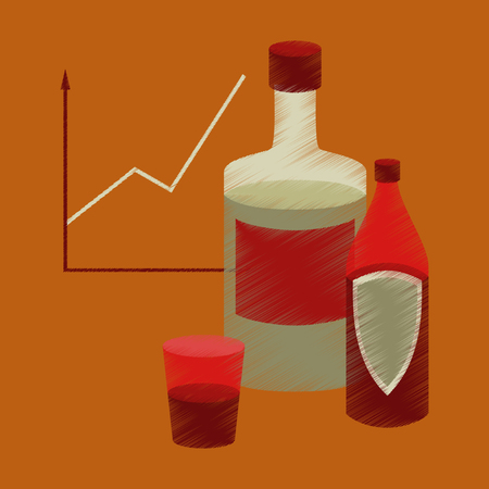 Flat shading style icon alcohol infographic information vector illustration