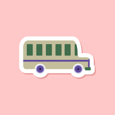 Paper sticker on stylish background, bus