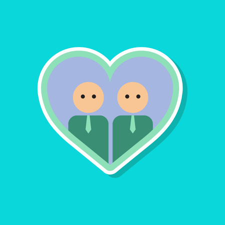 paper sticker on stylish background of gay in heart Illustration