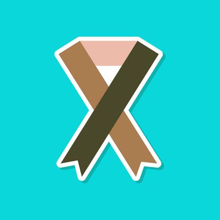 Paper sticker on stylish background, HIV ribbon Illustration