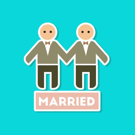 Paper sticker on stylish background of newlywed gays, wedding illustration Illustration