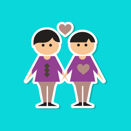Paper sticker on stylish background of homosexual, gay lovers Illustration