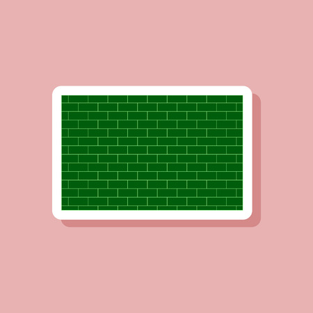 Paper sticker on stylish background, Brick wall