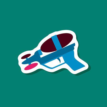 Paper sticker on stylish background, Toy gun