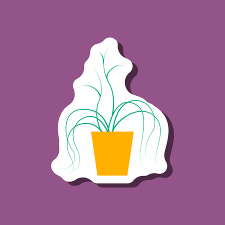 Paper sticker on stylish background, plant in a pot