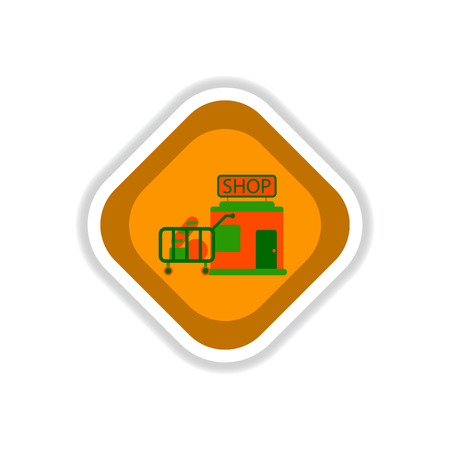 paper sticker on white background shop cart with food Vettoriali