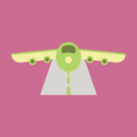 Icon in flat design for airport Airplane runway