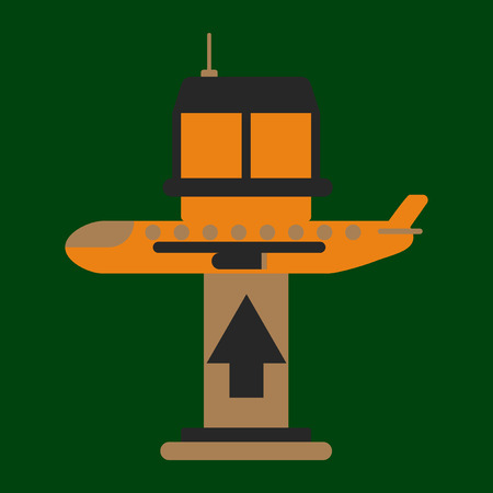 Icon in flat design for airport plane takes off