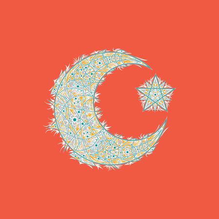 Oriental pattern, moon and stars. Islam, Arabic, Turkish, Moroccan motifs.