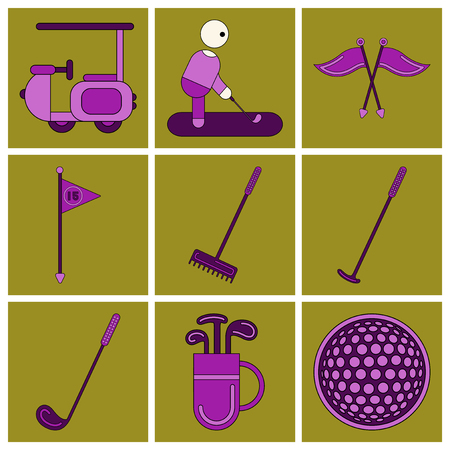 Set of Icons in flat design Golf equipments Ilustração