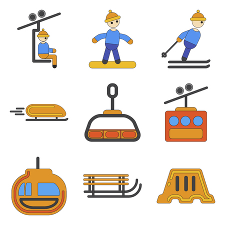 Set of Icons in flat design winter sport
