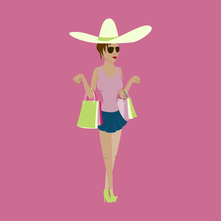 Girl shopping with packages 向量圖像