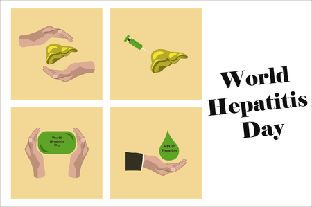 assembly of flat icons on theme world hepatitis day .