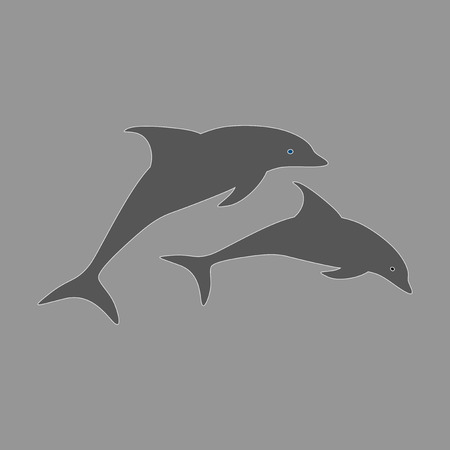 flat icon on theme Save whales a pair of dolphins Çizim