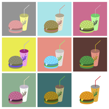 Set icons in flat design Burger and soda Illusztráció