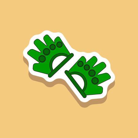 paper sticker on stylish background Gloves for the gym Illustration