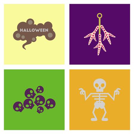 assembly flat icons halloween skeleton sign chicken feet skulls Illustration
