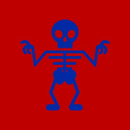 flat icon on background halloween skeleton