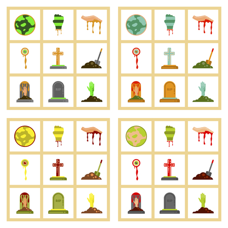 assembly flat icons halloween zombie hand grave full moon zombie hand grave Plot shovel