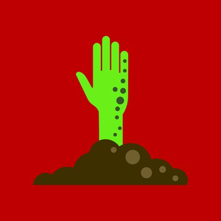 COne plana no fundo mão de zumbi de halloween Foto de archivo - 90663077