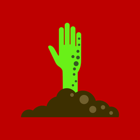 flat icon on background halloween zombie hand