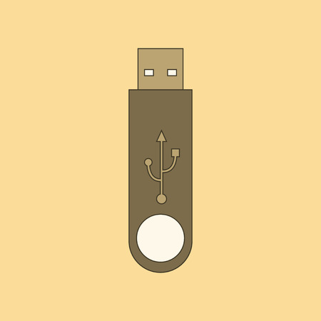 flat icon on background flash drive 向量圖像