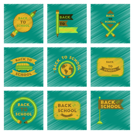 assembly flat shading style icons Back to school pencil Globe bus flag