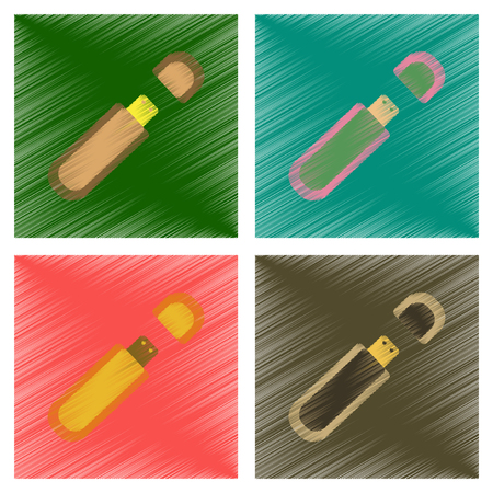 assembly flat shading style icons flash drive