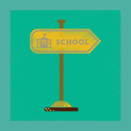 flat shading style icon school sign