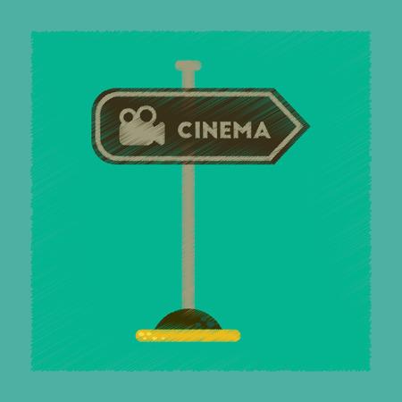 flat shading style icon cinema sign  イラスト・ベクター素材